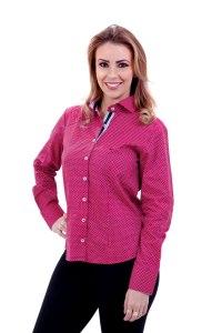 camisa-feminina-manga-longa-vermelha-com-bolinhas-brancas-frente