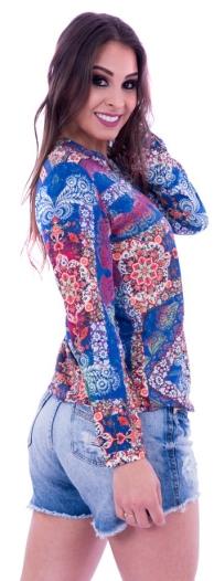 Bata Lupim manga longa floral azul