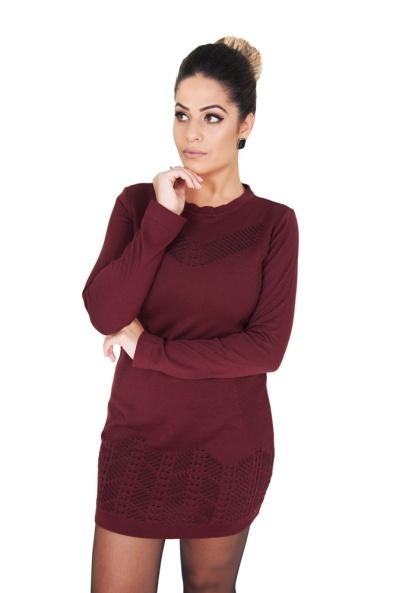 vestido-feminino-curto-manga-longa-bordo-e-preto-frente