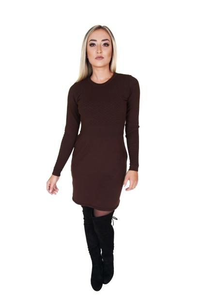 vestido-feminino-curto-manga-longa-marrom-de-links-corpo-inteiro